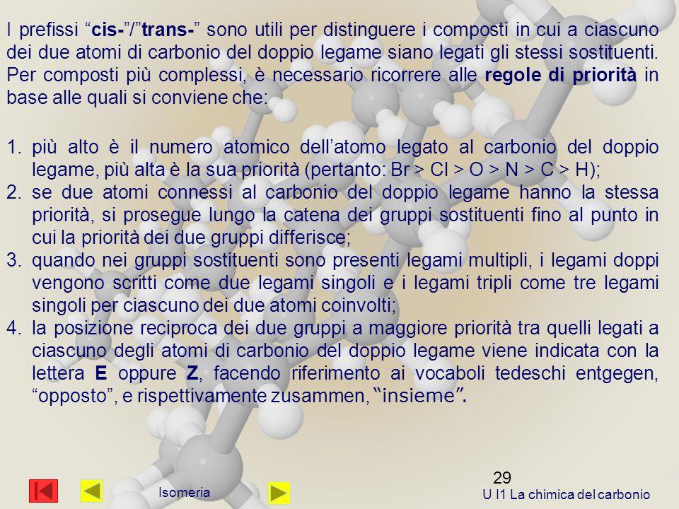 29 Isomeria I prefissi cis- / trans- sono utili per distinguere i composti in cui a ciascuno dei due atomi di carbonio del doppio legame siano legati gli stessi sostituenti.