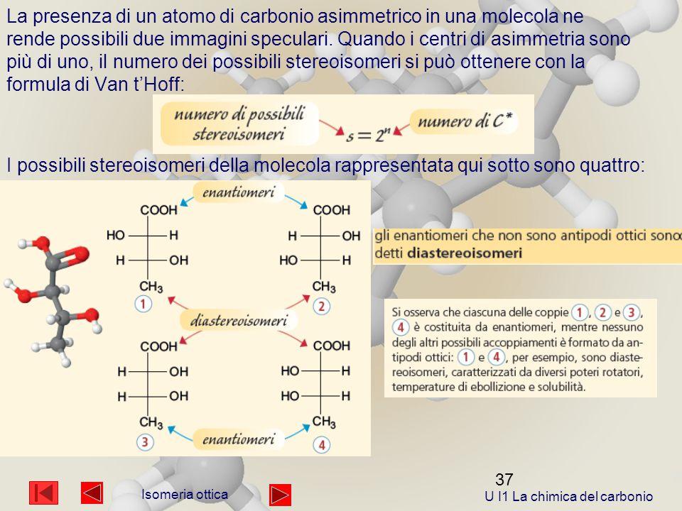 37 La presenza di un atomo di carbonio asimmetrico in una molecola ne rende possibili due immagini speculari.