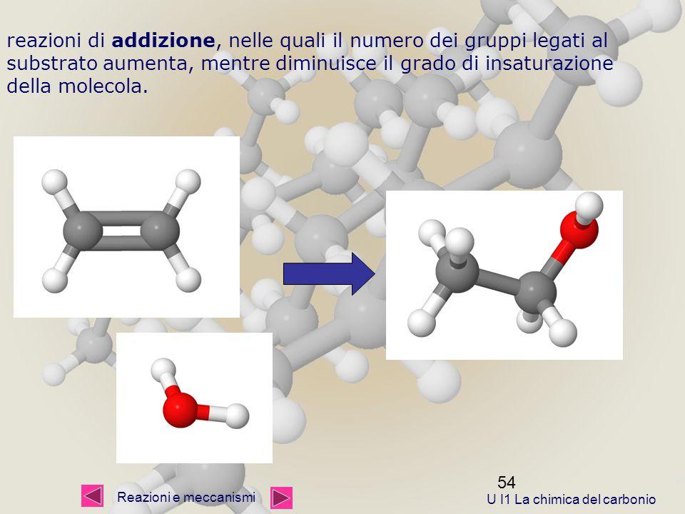54 reazioni di addizione, nelle quali il numero dei gruppi legati al substrato aumenta, mentre diminuisce il grado di insaturazione della molecola.