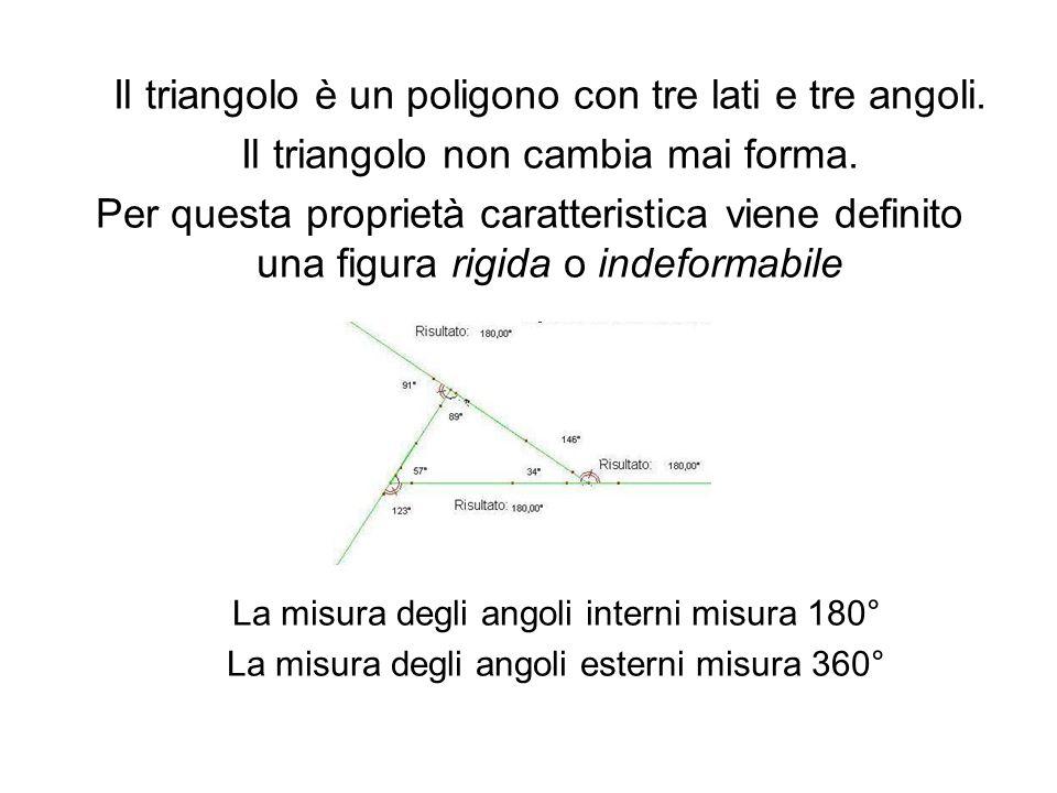 Il triangolo è un poligono con tre lati e tre angoli.