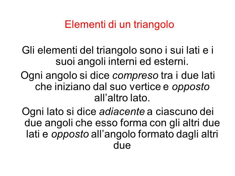 Classificazione dei triangoli Equilatero,se ha i tre lati congruenti Isocele, se ha due lati congruenti Scaleno, se ha i tre lati disuguali Rettangolo, se ha un angolo retto Acutangolo, se ha tre angoli acuti Ottusangolo, se ha un angolo ottuso
