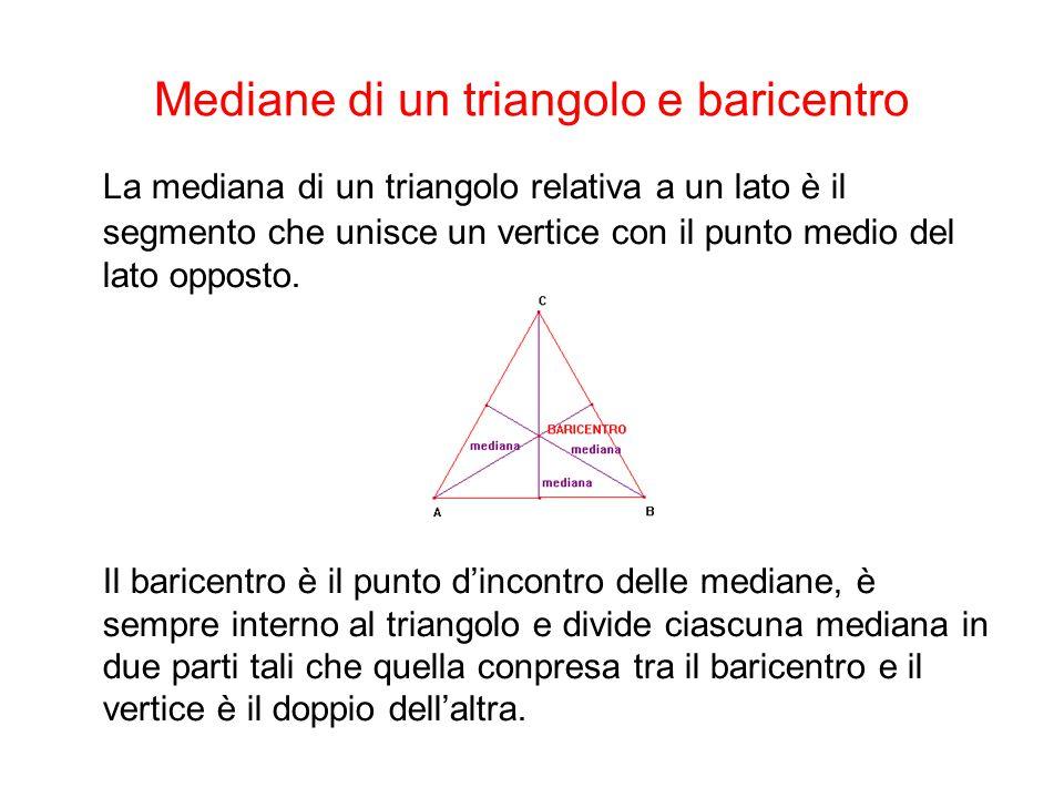 Bisettrici di un triangolo e incentro La bisettrice di un triangolo relativa a un angolo è il segmento di bisettrice compreso tra il vertice e il lato opposto L'incentro è il punto d'incontro delle bisettrici, è sempre interno al triangolo ed è equidistante dai suoi lati.