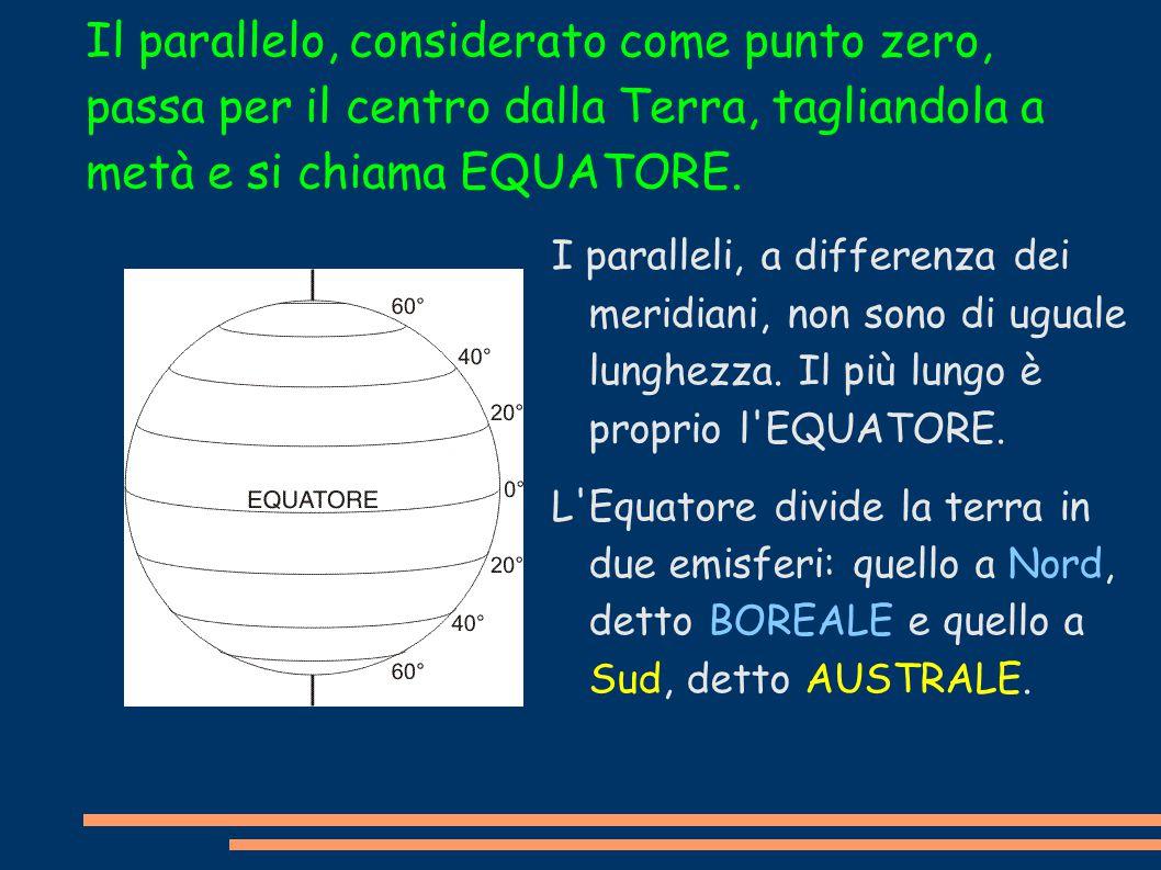 Il parallelo, considerato come punto zero, passa per il centro dalla Terra, tagliandola a metà e si chiama EQUATORE. I paralleli, a differenza dei mer