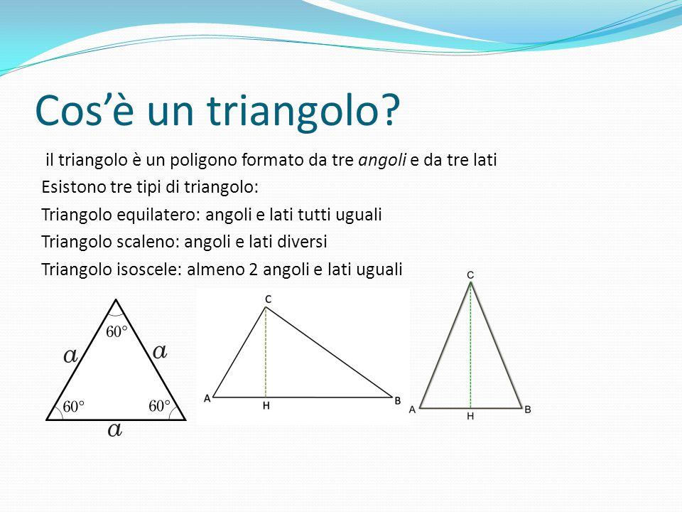 Cos'è un triangolo? il triangolo è un poligono formato da tre angoli e da tre lati Esistono tre tipi di triangolo: Triangolo equilatero: angoli e lati