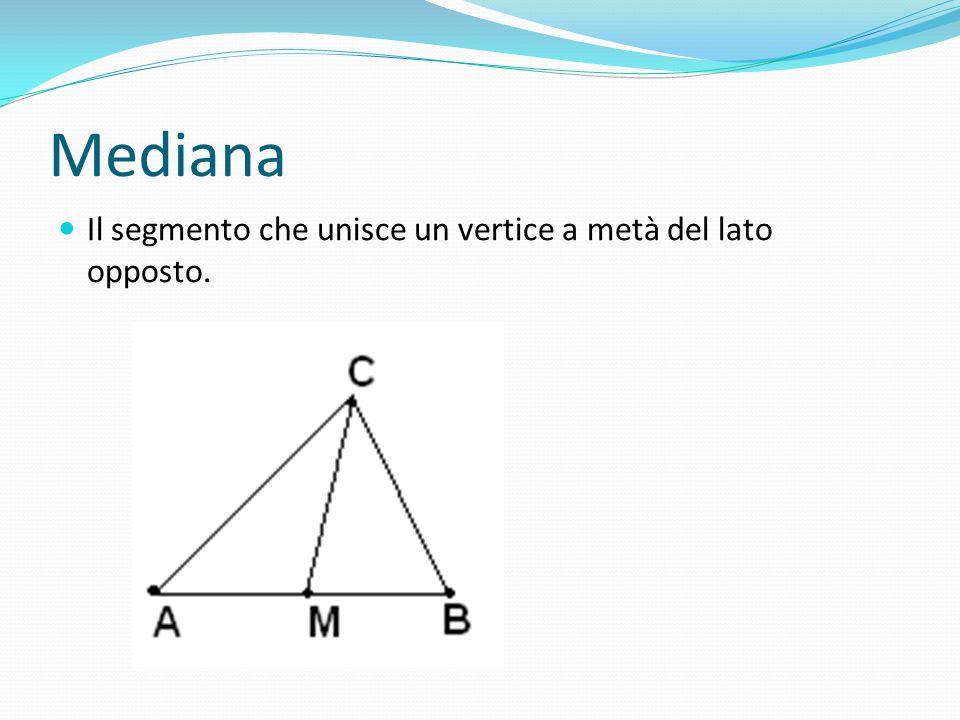 Mediana Il segmento che unisce un vertice a metà del lato opposto.