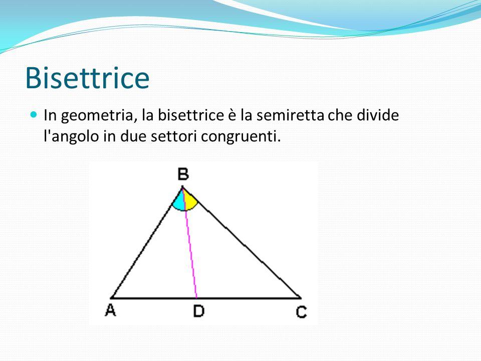 Bisettrice In geometria, la bisettrice è la semiretta che divide l'angolo in due settori congruenti.