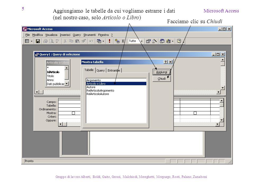 16 Microsoft Access Gruppo di lavoro Alberti, Boldi, Gaito, Grossi, Malchiodi, Mereghetti, Morpurgo, Rosti, Palano, Zanaboni Equivalente SQL…