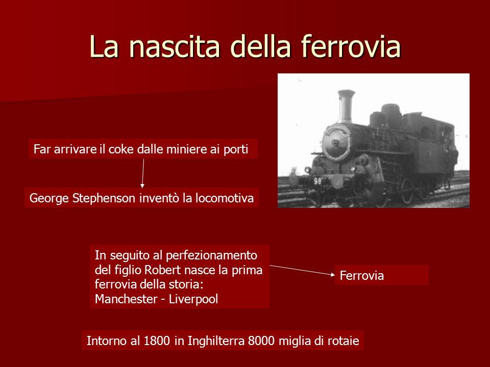 La nascita della ferrovia Far arrivare il coke dalle miniere ai porti Ferrovia George Stephenson inventò la locomotiva In seguito al perfezionamento d