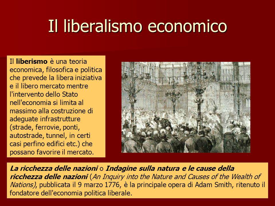 Il liberalismo economico Il liberismo è una teoria economica, filosofica e politica che prevede la libera iniziativa e il libero mercato mentre l'inte