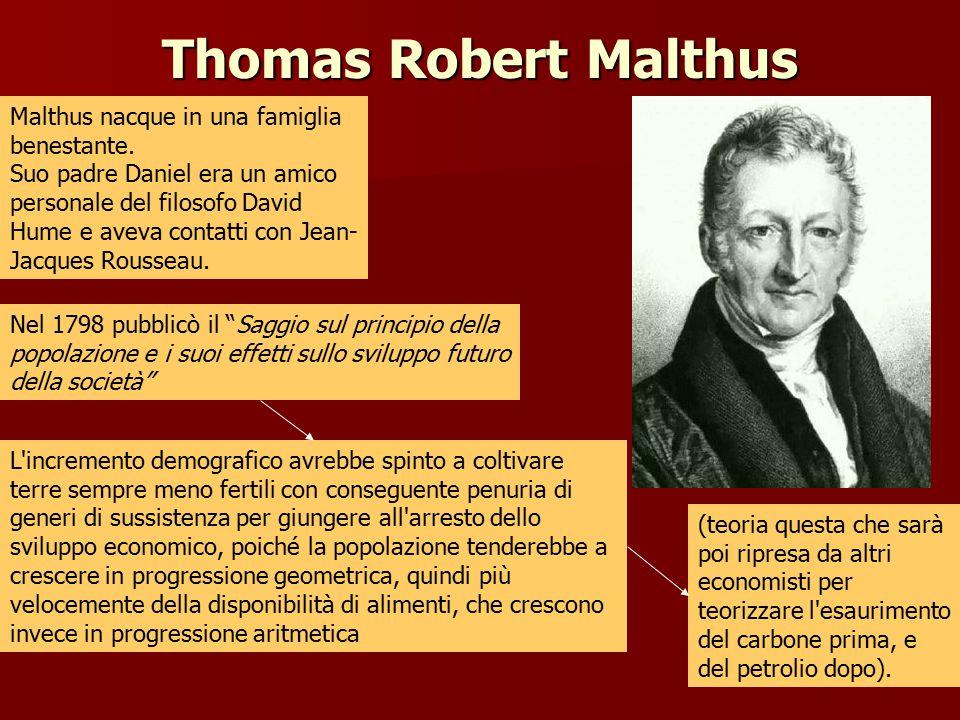 Thomas Robert Malthus Malthus nacque in una famiglia benestante. Suo padre Daniel era un amico personale del filosofo David Hume e aveva contatti con