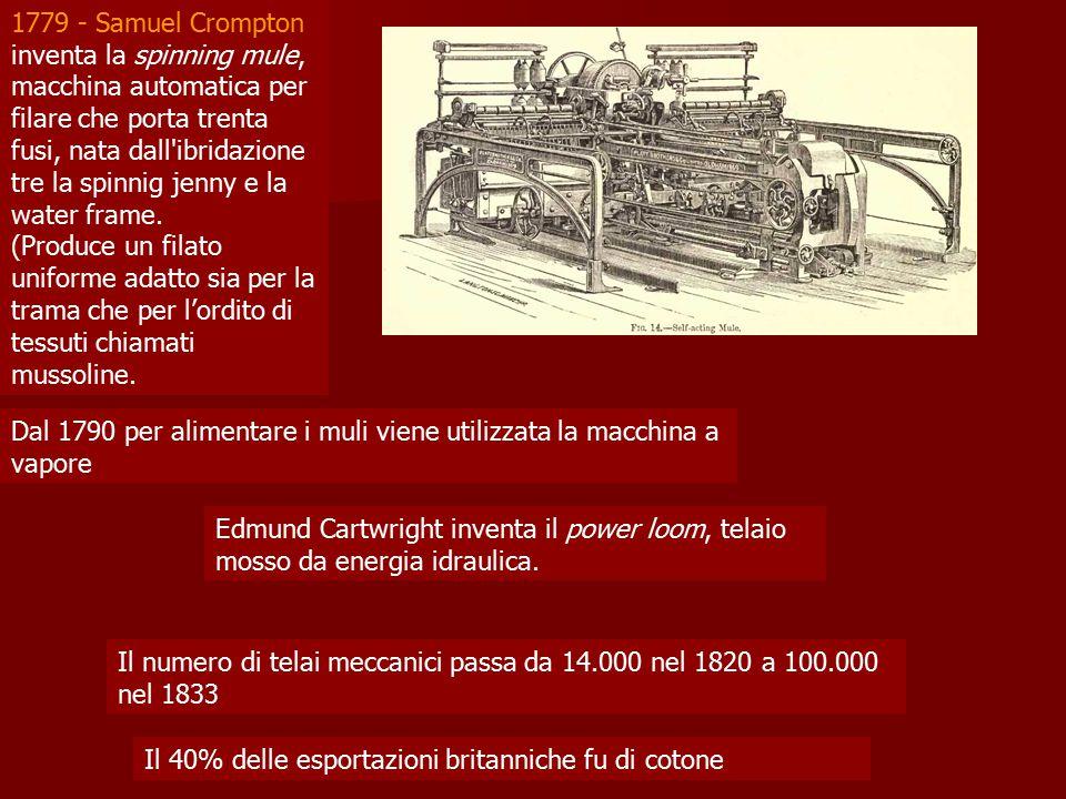 1779 - Samuel Crompton inventa la spinning mule, macchina automatica per filare che porta trenta fusi, nata dall'ibridazione tre la spinnig jenny e la