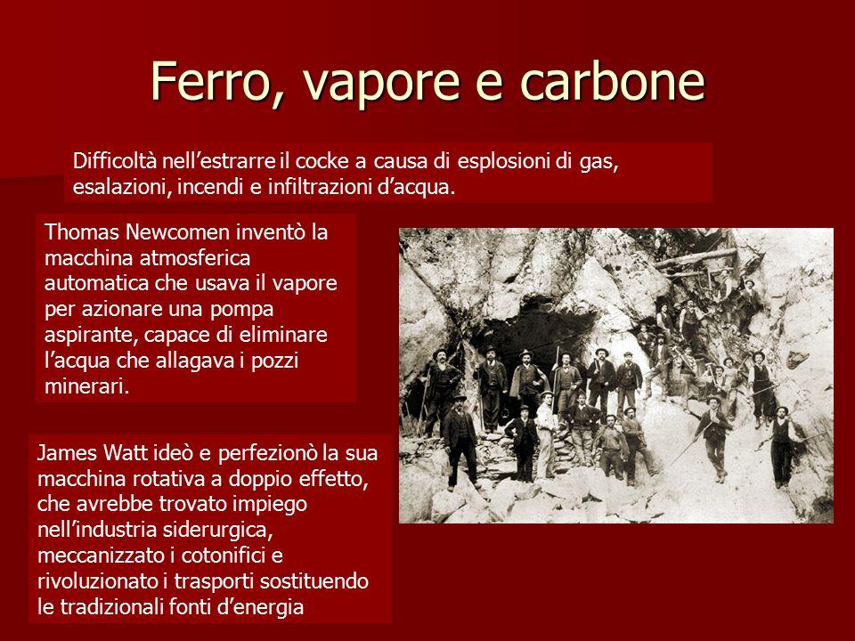 Ferro, vapore e carbone Difficoltà nell'estrarre il cocke a causa di esplosioni di gas, esalazioni, incendi e infiltrazioni d'acqua. Thomas Newcomen i