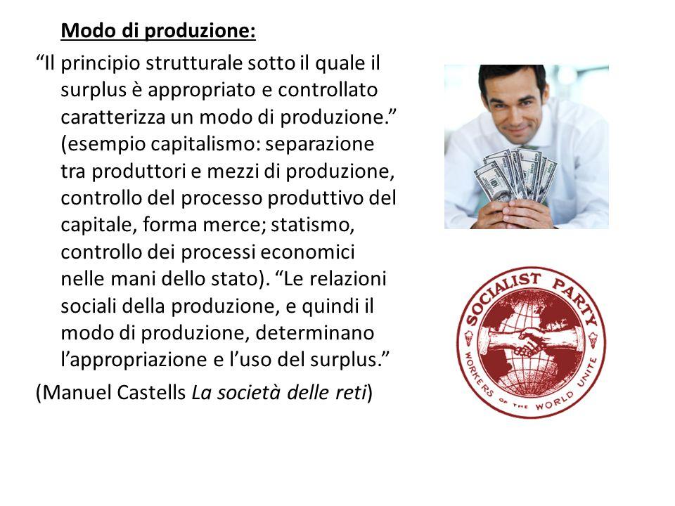 """Modo di produzione: """"Il principio strutturale sotto il quale il surplus è appropriato e controllato caratterizza un modo di produzione."""" (esempio capi"""
