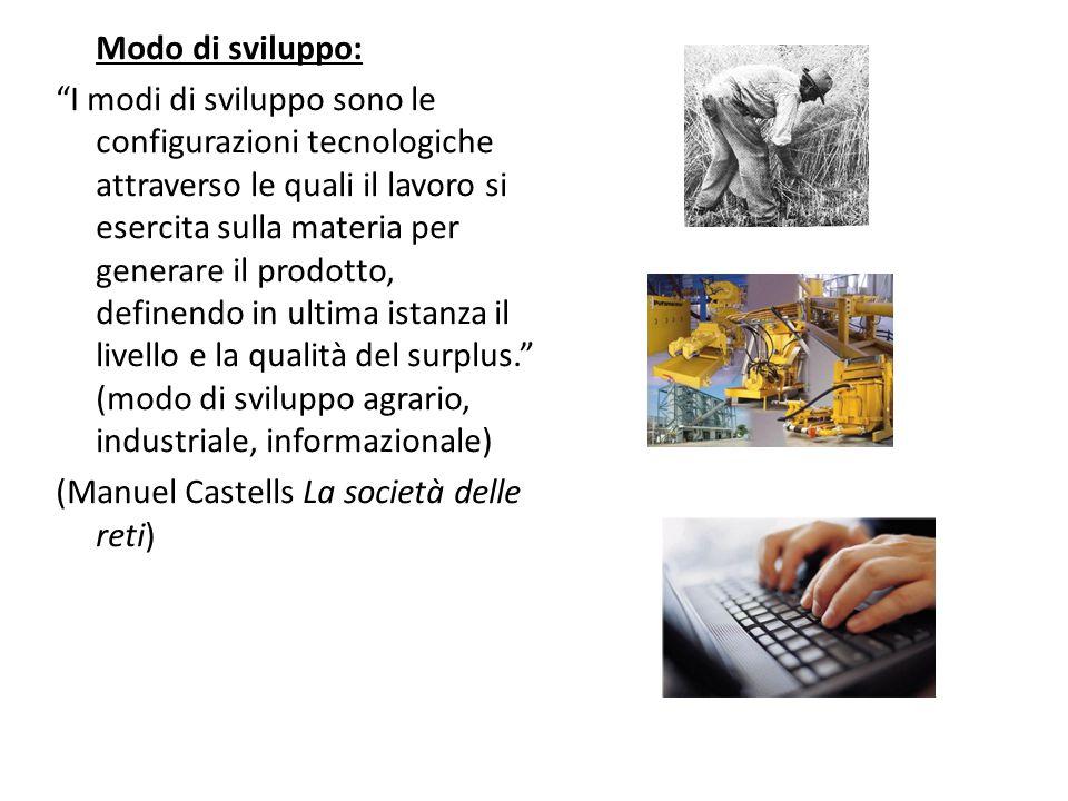 """Modo di sviluppo: """"I modi di sviluppo sono le configurazioni tecnologiche attraverso le quali il lavoro si esercita sulla materia per generare il prod"""