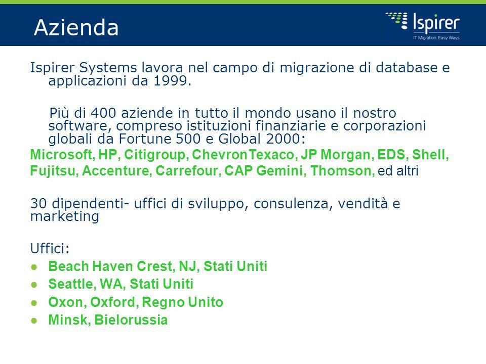 Azienda Ispirer Systems lavora nel campo di migrazione di database e applicazioni da 1999.