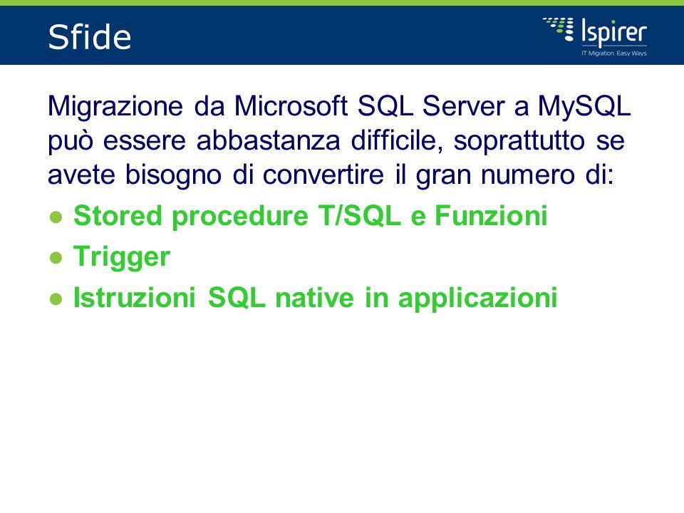 Sfide Migrazione da Microsoft SQL Server a MySQL può essere abbastanza difficile, soprattutto se avete bisogno di convertire il gran numero di: ●Stored procedure T/SQL e Funzioni ●Trigger ●Istruzioni SQL native in applicazioni