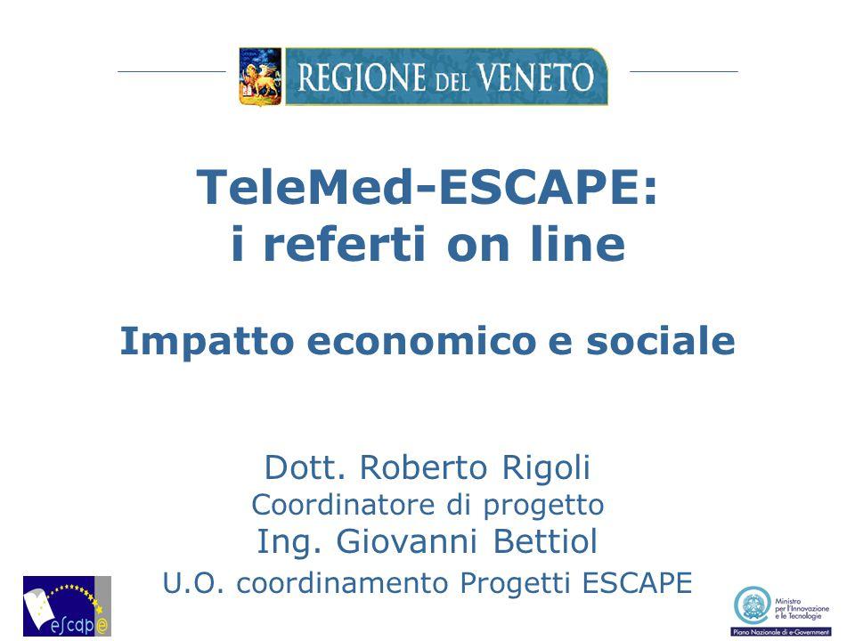 TeleMed-ESCAPE: i referti on line Impatto economico e sociale Dott. Roberto Rigoli Coordinatore di progetto Ing. Giovanni Bettiol U.O. coordinamento P