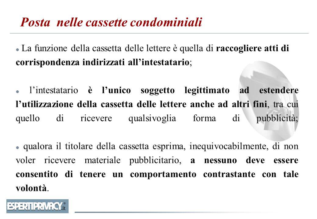 Posta nelle cassette condominiali ● La funzione della cassetta delle lettere è quella di raccogliere atti di corrispondenza indirizzati all'intestatar