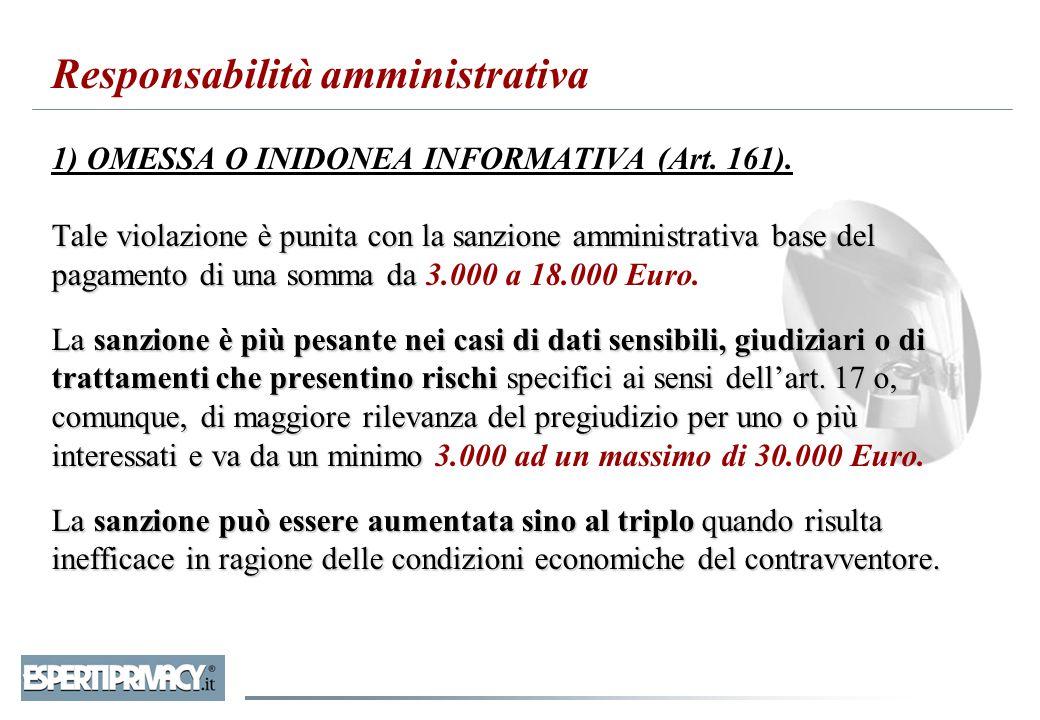 Tale violazione è punita con la sanzione amministrativa base del pagamento di una somma da La sanzione è più pesante nei casi di dati sensibili, giudi