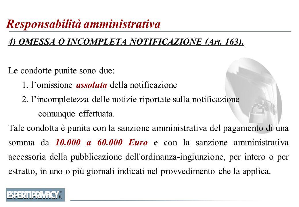 4) OMESSA O INCOMPLETA NOTIFICAZIONE (Art. 163). Le condotte punite sono due: 1. l'omissione assoluta della notificazione 2. l'incompletezza delle not