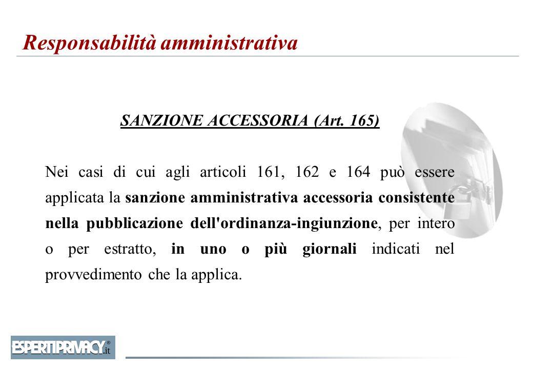 SANZIONE ACCESSORIA (Art. 165) Nei casi di cui agli articoli 161, 162 e 164 può essere applicata la sanzione amministrativa accessoria consistente nel