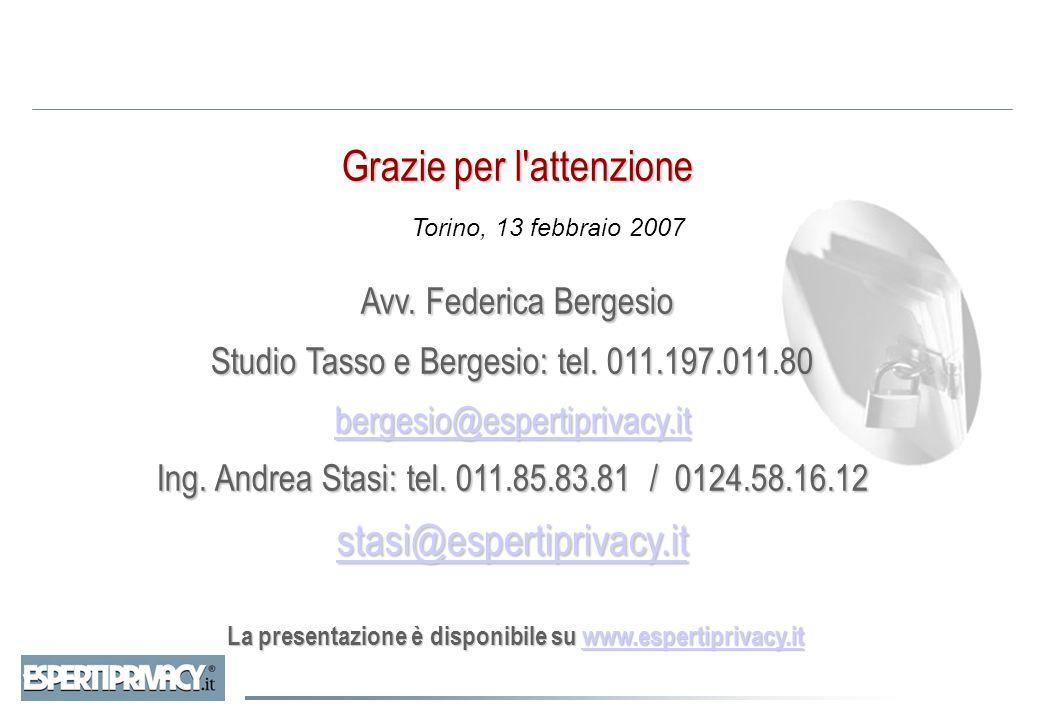 Grazie per l'attenzione Avv. Federica Bergesio Grazie per l'attenzione Avv. Federica Bergesio Studio Tasso e Bergesio: tel. 011.197.011.80 bergesio@es