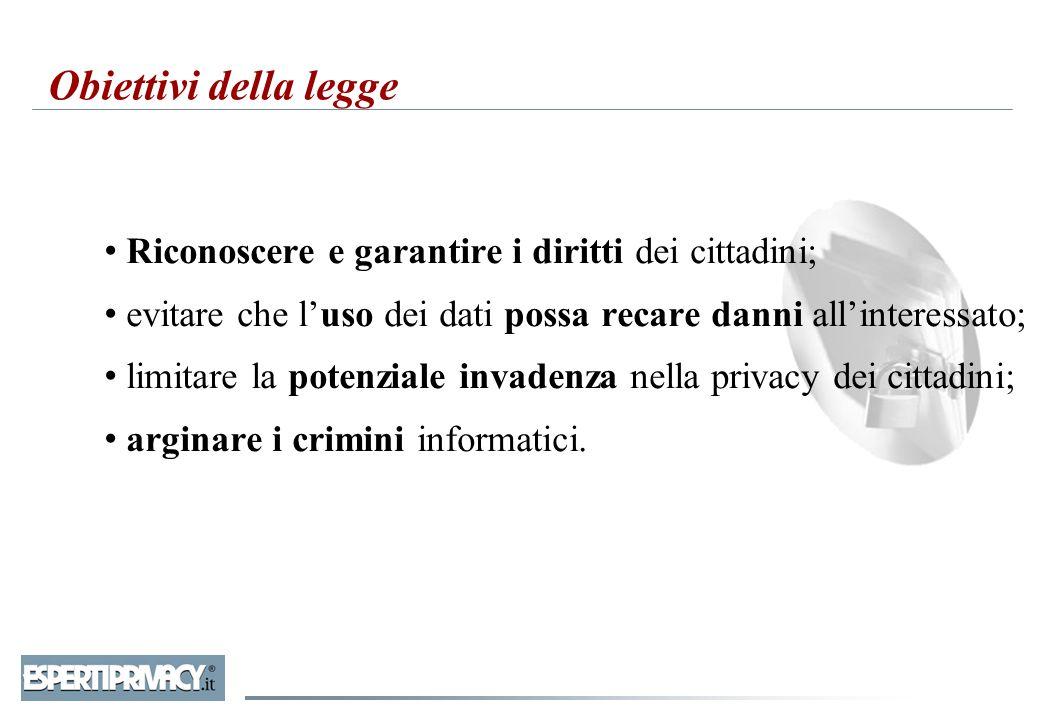 Obiettivi della legge Riconoscere e garantire i diritti dei cittadini; evitare che l'uso dei dati possa recare danni all'interessato; limitare la pote