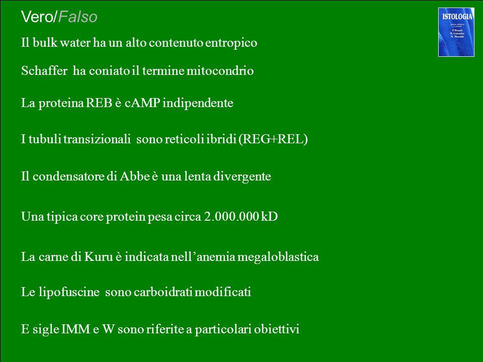 Ialoplasma e citoplasma sono la stessa cosa Vero/Falso La paraffina è idrofoba Lo Xilolo è un fissativo I tubuli transizionali sono formati da monomer