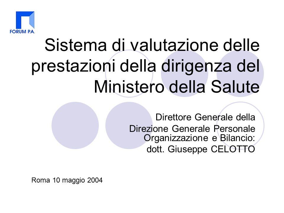 Sistema di valutazione delle prestazioni della dirigenza del Ministero della Salute Direttore Generale della Direzione Generale Personale Organizzazione e Bilancio: dott.