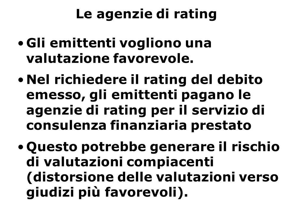 Le agenzie di rating Gli emittenti vogliono una valutazione favorevole. Nel richiedere il rating del debito emesso, gli emittenti pagano le agenzie di