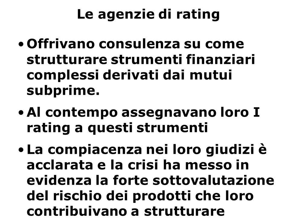 Le agenzie di rating Offrivano consulenza su come strutturare strumenti finanziari complessi derivati dai mutui subprime. Al contempo assegnavano loro