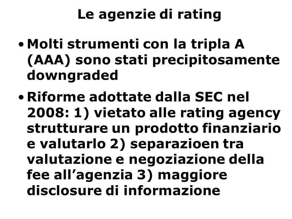Le agenzie di rating Molti strumenti con la tripla A (AAA) sono stati precipitosamente downgraded Riforme adottate dalla SEC nel 2008: 1) vietato alle rating agency strutturare un prodotto finanziario e valutarlo 2) separazioen tra valutazione e negoziazione della fee all'agenzia 3) maggiore disclosure di informazione