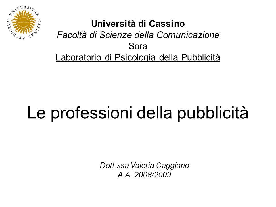 Le professioni della pubblicità Università di Cassino Facoltà di Scienze della Comunicazione Sora Laboratorio di Psicologia della Pubblicità Dott.ssa