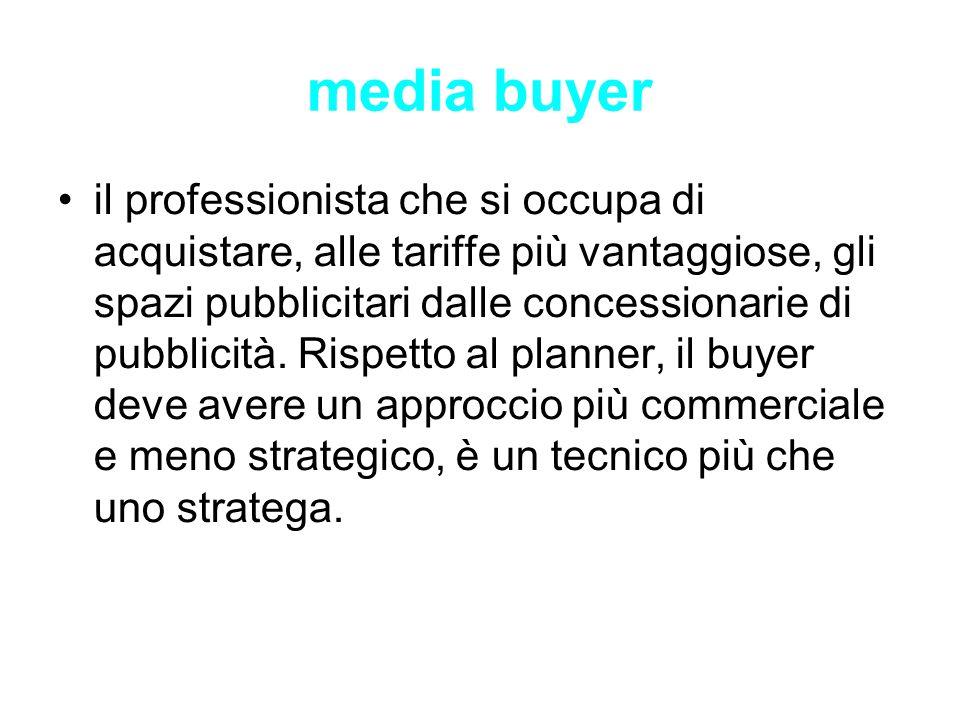media buyer il professionista che si occupa di acquistare, alle tariffe più vantaggiose, gli spazi pubblicitari dalle concessionarie di pubblicità. Ri
