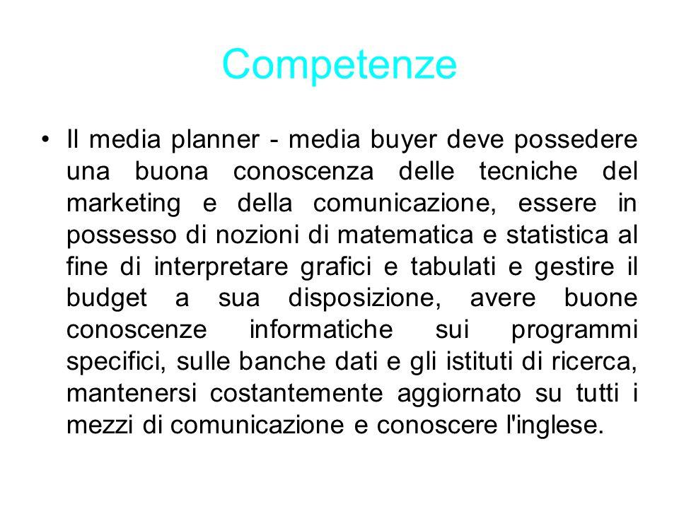 Competenze Il media planner - media buyer deve possedere una buona conoscenza delle tecniche del marketing e della comunicazione, essere in possesso d
