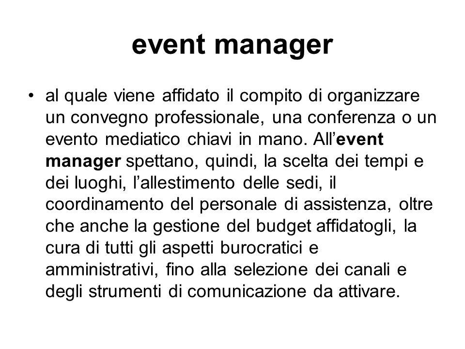 event manager al quale viene affidato il compito di organizzare un convegno professionale, una conferenza o un evento mediatico chiavi in mano. All'ev
