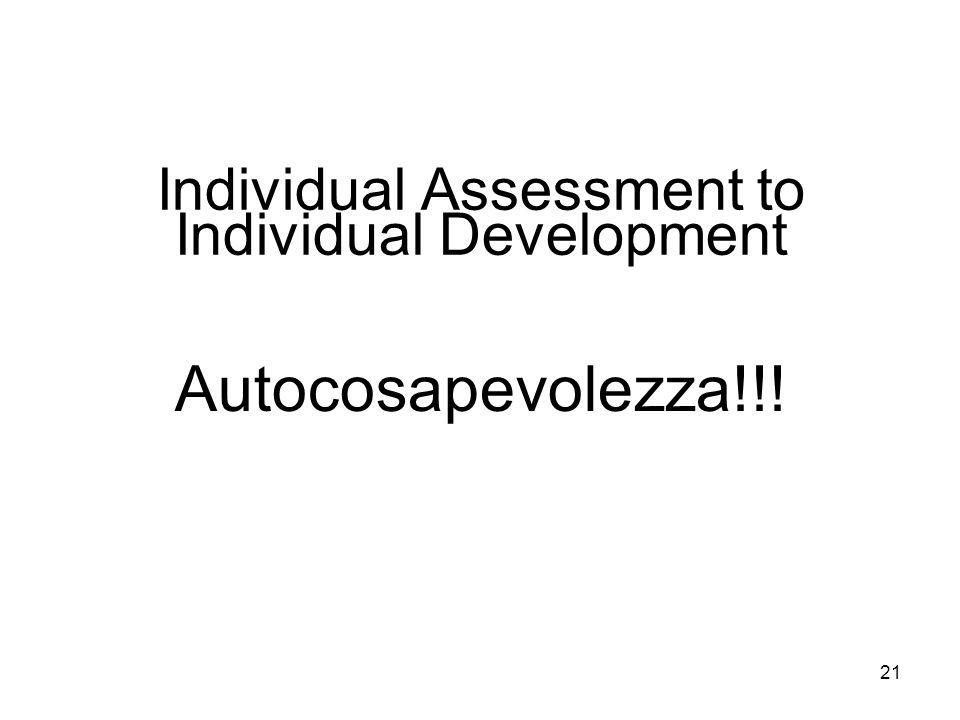 21 Individual Assessment to Individual Development Autocosapevolezza!!!