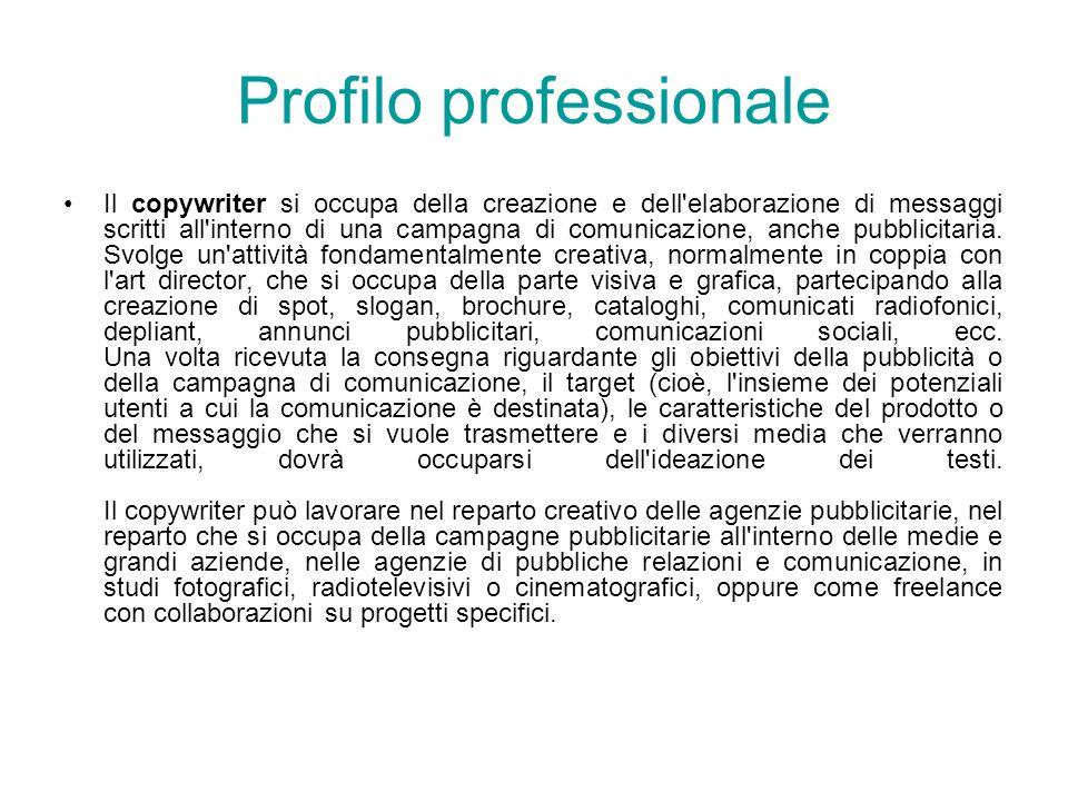 Profilo professionale Il copywriter si occupa della creazione e dell'elaborazione di messaggi scritti all'interno di una campagna di comunicazione, an