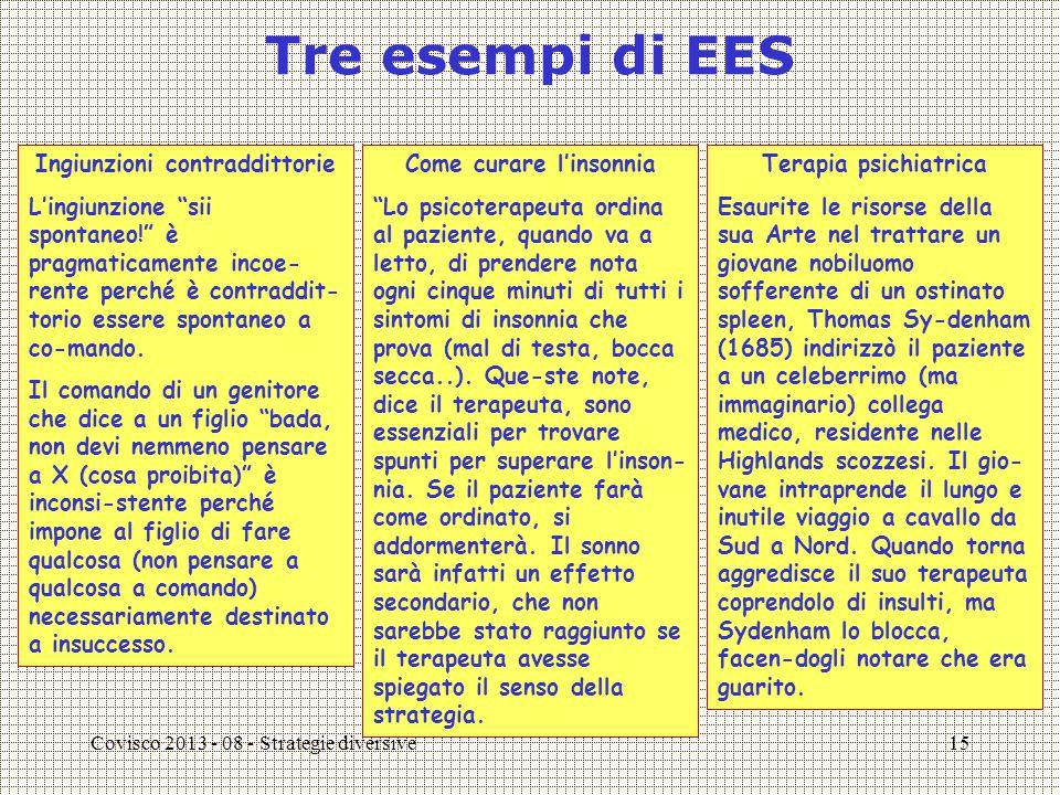 Covisco 2013 - 08 - Strategie diversive15 Tre esempi di EES Ingiunzioni contraddittorie L'ingiunzione sii spontaneo! è pragmaticamente incoe- rente perché è contraddit- torio essere spontaneo a co-mando.