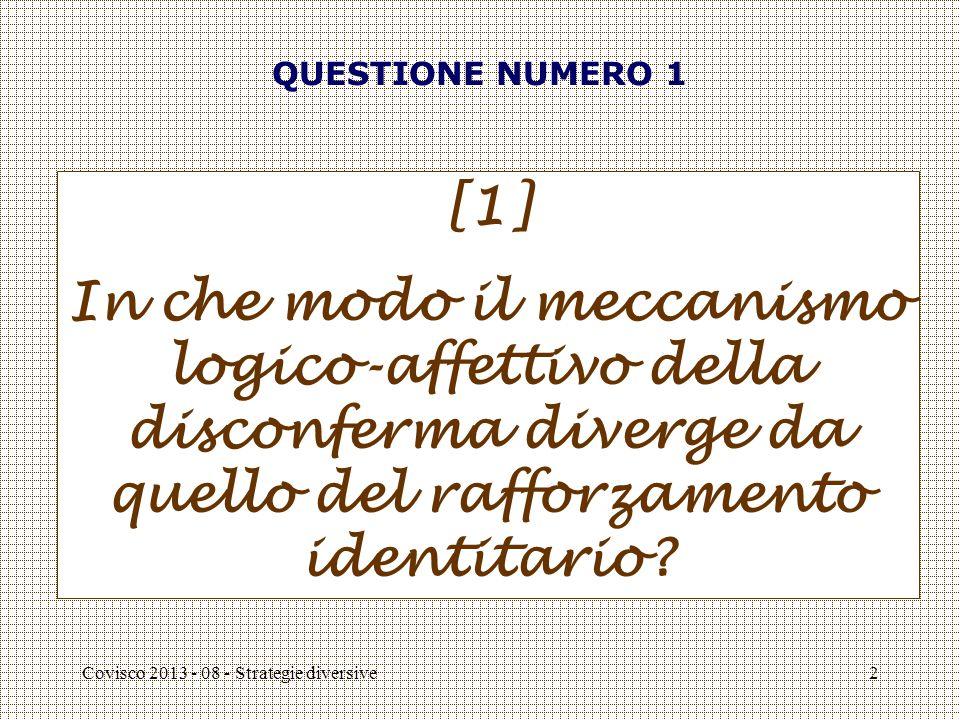 Covisco 2013 - 08 - Strategie diversive2 QUESTIONE NUMERO 1 [1] In che modo il meccanismo logico-affettivo della disconferma diverge da quello del rafforzamento identitario
