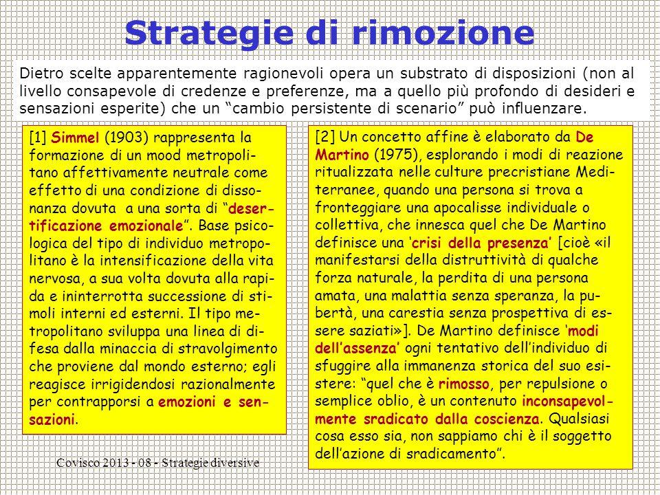 Covisco 2013 - 08 - Strategie diversive3 Strategie di rimozione [1] Simmel (1903) rappresenta la formazione di un mood metropoli- tano affettivamente neutrale come effetto di una condizione di disso- nanza dovuta a una sorta di deser- tificazione emozionale .