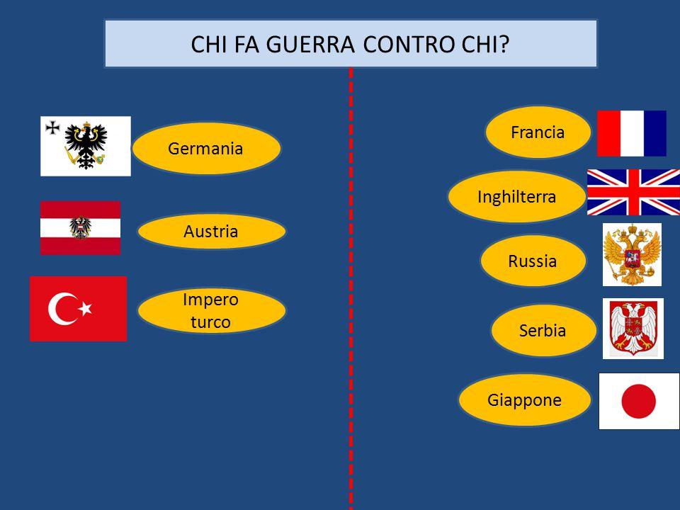 Impero turco CHI FA GUERRA CONTRO CHI? Austria Germania Francia Inghilterra Russia Serbia Giappone
