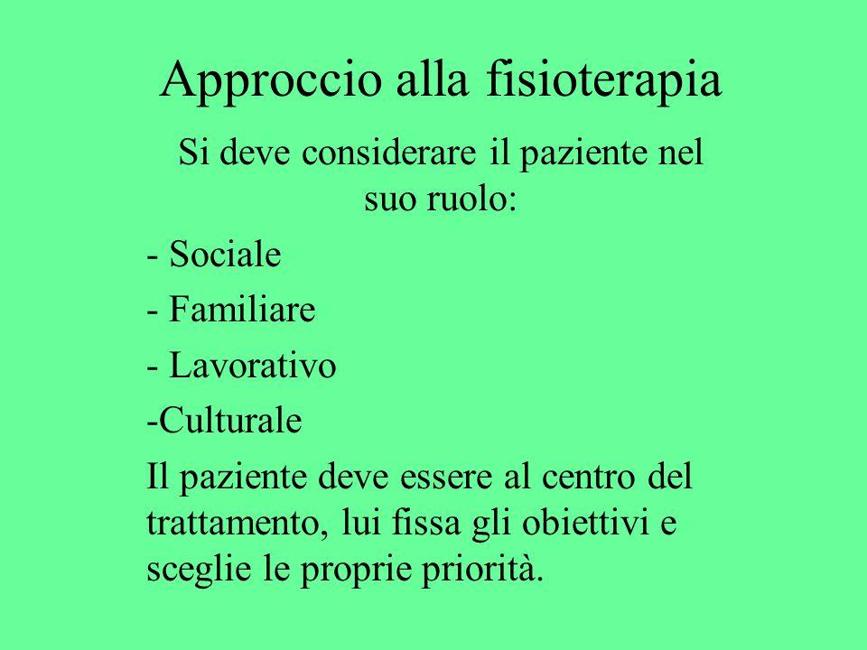 Approccio alla fisioterapia Si deve considerare il paziente nel suo ruolo: - Sociale - Familiare - Lavorativo -Culturale Il paziente deve essere al centro del trattamento, lui fissa gli obiettivi e sceglie le proprie priorità.
