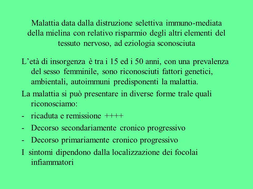 Malattia data dalla distruzione selettiva immuno-mediata della mielina con relativo risparmio degli altri elementi del tessuto nervoso, ad eziologia s