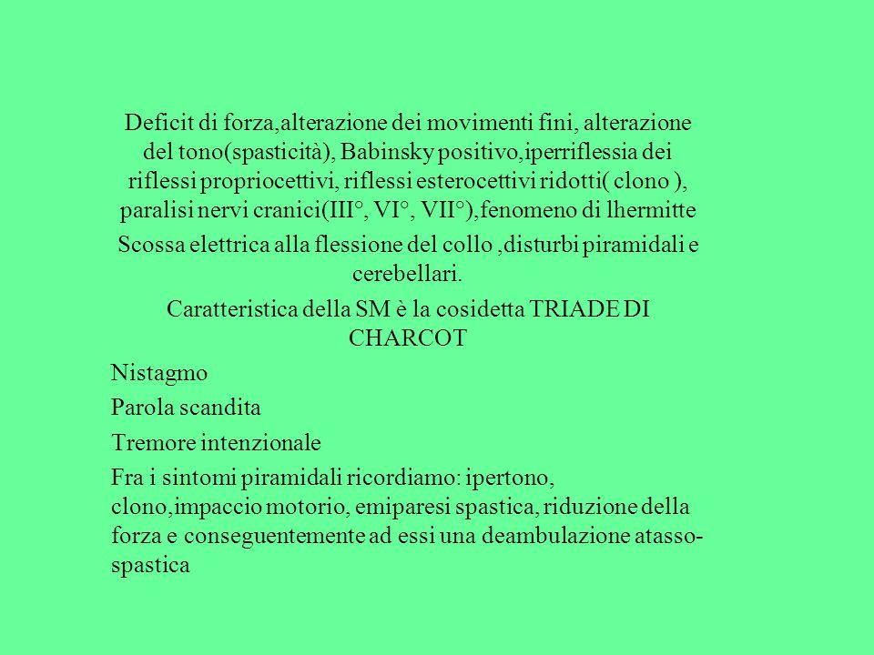 Deficit di forza,alterazione dei movimenti fini, alterazione del tono(spasticità), Babinsky positivo,iperriflessia dei riflessi propriocettivi, rifles