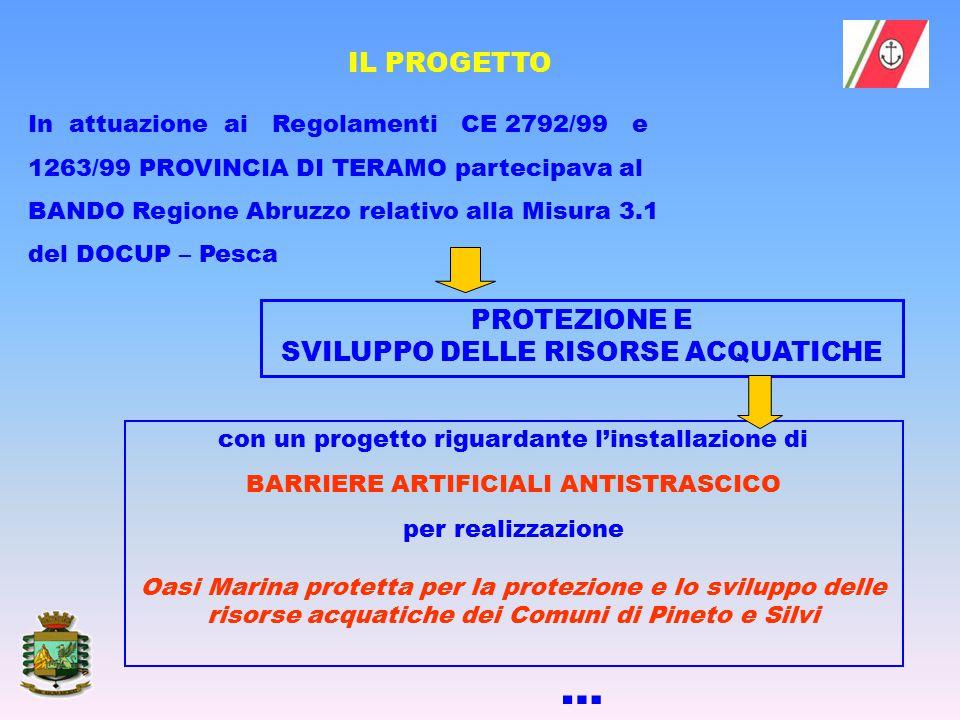 In attuazione ai Regolamenti CE 2792/99 e 1263/99 PROVINCIA DI TERAMO partecipava al BANDO Regione Abruzzo relativo alla Misura 3.1 del DOCUP – Pesca