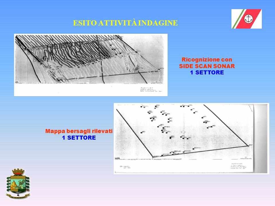 ESITO ATTIVITÀ INDAGINE Ricognizione con SIDE SCAN SONAR 1 SETTORE Mappa bersagli rilevati 1 SETTORE
