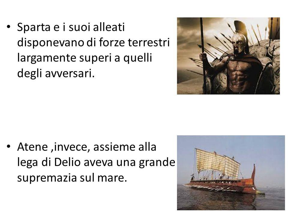 Sparta e i suoi alleati disponevano di forze terrestri largamente superi a quelli degli avversari. Atene,invece, assieme alla lega di Delio aveva una