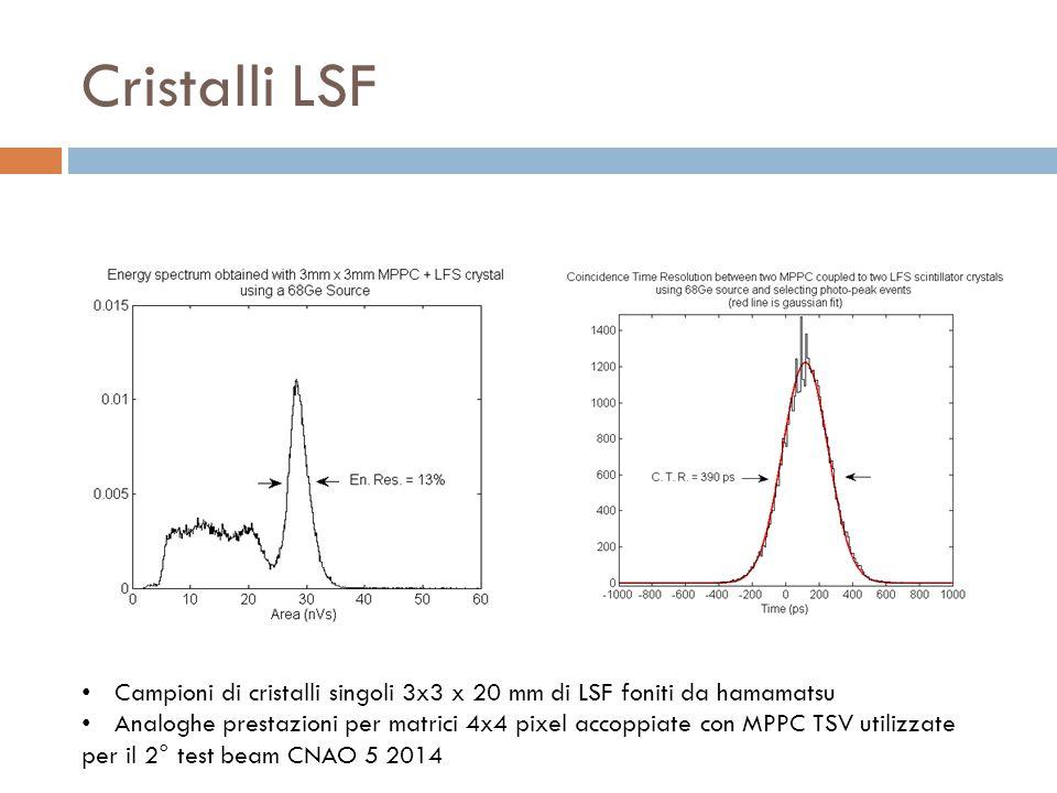 Cristalli LSF Campioni di cristalli singoli 3x3 x 20 mm di LSF foniti da hamamatsu Analoghe prestazioni per matrici 4x4 pixel accoppiate con MPPC TSV utilizzate per il 2° test beam CNAO 5 2014