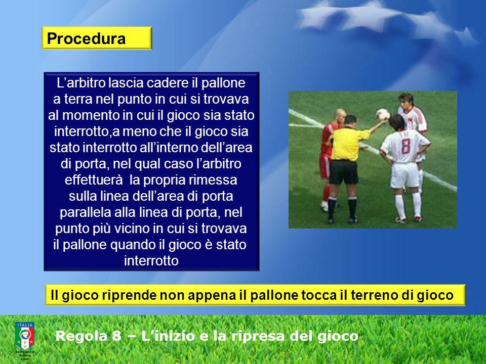 Regola 8 – L'inizio e la ripresa del gioco Procedura L'arbitro lascia cadere il pallone a terra nel punto in cui si trovava al momento in cui il gioco sia stato interrotto,a meno che il gioco sia stato interrotto all'interno dell'area di porta, nel qual caso l'arbitro effettuerà la propria rimessa sulla linea dell'area di porta parallela alla linea di porta, nel punto più vicino in cui si trovava il pallone quando il gioco è stato interrotto Il gioco riprende non appena il pallone tocca il terreno di gioco